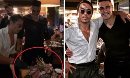 Falcao visitó el restaurante de Salt Bae para comer carne bañada en oro